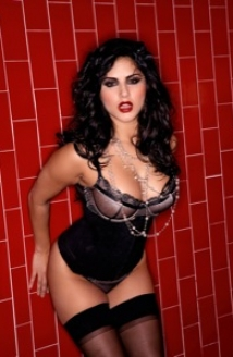 Red Tile Sink Black Corset Picture